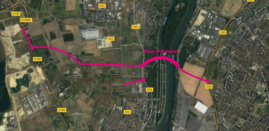 Le pont d'Achères reliant RD 30 et RD 190